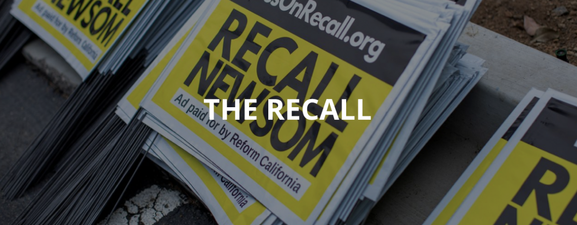 banner showing black and yellow Recall Newsom signs for California gubernatorial recall election